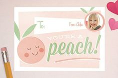 Valentines for Foodies: You're a Peach! Classroom Valentine's Day Card from minted.