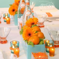 Tangerine and Turquoise.....centerpiece with pops of color!
