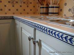 Everyday Artist: Hand-Painted Blue & White Tile Backsplash