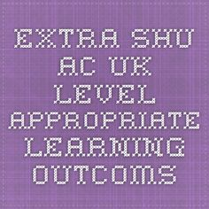 extra.shu.ac.uk Level appropriate learning outcoms