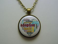 Adopted Foster Care Quote Heart Necklace Choice of Antique Silver Antique Bronze