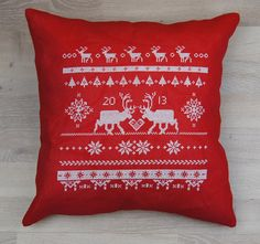 Cross stitch pattern REINDEER scandinavian christmas,christmas pillow,christmas cross stitch,needlepoint,swedish,diy,red,anette eriksson by anetteeriksson on Etsy