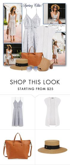 """""""Spring Chic:  Striped Dress & Cardigan"""" by brendariley-1 ❤ liked on Polyvore featuring maurices, Madewell, Gucci, Burberry and laceandlocks"""