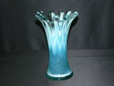 Murano Aqua Blue Stretched Art Glass Vase