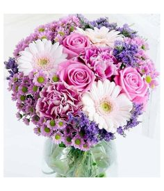 A sweet bouquet with pink flowers and a touch of purple make an happiness someone's face. Flower Delivery Service, Pink Flowers, Floral Wreath, Bouquet, Wreaths, Purple, Sweet, Happiness, Touch