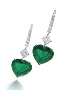 Graff Heart Shaped Emerald And Diamond Earrings