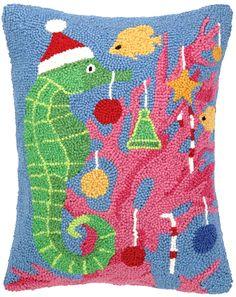 Found it at Wayfair - Seahorse Christmas Hook Wool Throw Pillow Coastal Christmas Decor, Nautical Christmas, Christmas Themes, Tacky Christmas, Xmas, Holiday Ideas, Christmas Pillow, Beautiful Christmas, Decorative Pillows