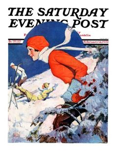 """""""Woman Skier,"""" Saturday Evening Post Cover, February 14, 1931 Giclee Print by James C. McKell at AllPosters.com"""