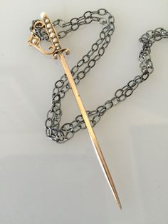 Antique Victorian Sword Stickpin Solid Gold Pendant Necklace @CELESTEANDCOGEMS by CelesteandCoGems on Etsy