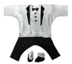 White Jacket and Black Pants Baby Tuxedo Suit