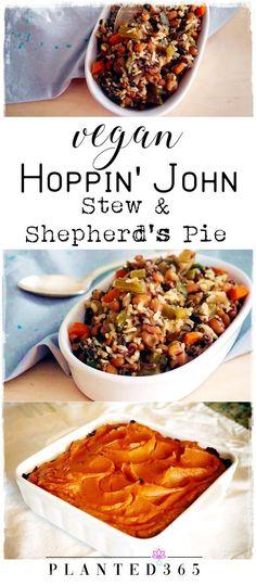 A Recipe for Vegan Hoppin' John Stew and Sweet Potato Shepherd's Pie Vegan Dinner Recipes, Vegan Recipes Easy, Whole Food Recipes, Vegetarian Recipes, Vegetarian Casserole, Delicious Recipes, Free Recipes, Dessert Recipes, Vegan Stuffed Peppers