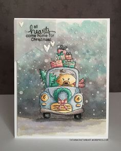 Holiday Bear card by Tatiana Trafimovich | Winston's Home for Christmas Stamp set by Newton's Nook Designs #newtonsnook