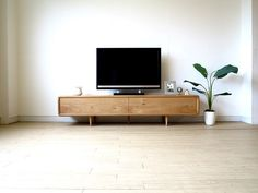 """Introducing a TV board that is perfect for the interior of the Nordic taste """" Living Room Tv, Interior Design Living Room, Tv Furniture, Furniture Design, Muji Home, Wood Shop Projects, Condo Design, Condo Decorating, Interior Design Inspiration"""