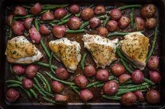 Ingredients 2lbs chicken breast (skin or no skin - doesn't matter) 20 tiny red potatoes, halved Green Beans  1 Clove garlic - minced 1 packet dry ranch mix 2 tbs olive oil 2 tbs brown sugar salt/pepper to taste  How To Cook 1. Pre-heat oven to 400º  2. Cut potatoes in half 3. Coat a baking sheet with either olive oil or spray 4. Place chicken (skin up if using chicken with skin) in the middle of the pan forming a line and green beans on both sides. 5. Add the potatoes on top of the green…