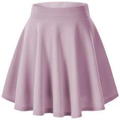 Women's Basic Solid Versatile Stretchy Flared Casual Mini Skater Skirt ($9.85) ❤ liked on Polyvore featuring skirts, mini skirts, bottoms, flared skirt, purple skirt, flared mini skirt, purple mini skirt and mini flare skirt