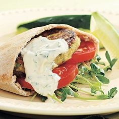Recipe of the Day: If you like eating falafel but want to avoid the heaviness of the fried pocket sandwich, here's a way to enjoy all that same great taste in a lighter, healthier way. This Chickpea Burger and Tahini Sauce is easy to create and chock full of vegetarian protein, filling fiber, healthy carbohydrates, and even calcium. #falafel #healthyrecipe #sandwich #lunchrecipe #chickpea #chickpeaburger #vegetarian #veggieburger