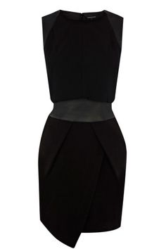 Black Asymmetric Detail Dress