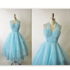 50's Prom Dress // Vintage 1950's Layered Tulle Halter Prom Wedding Party Dress XS. $152.00, via Etsy.