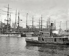 """New York City circa 1900. """"Shipping at East River docks."""" 8x10 inch dry plate glass negative, Detroit Publishing Company."""