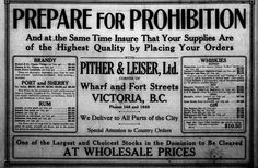 Sept 1917 ad in the Colonist from a liqour store needing to sell all their stock before prohibition