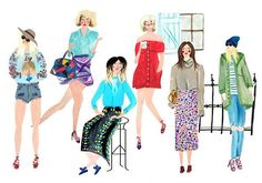 #bloggers #fashionistas #portraits #illustration #summer #editorialillustration #model #fashion #style #clothing #illustrationartists