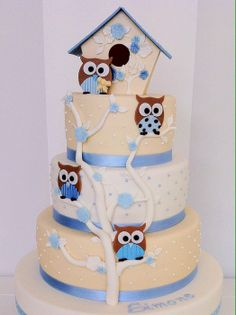 Blue & Cream Pearl Cake with Brown & Blue Owls on Trees and Owl Birdhouse Topper (Simone) Pretty Cakes, Cute Cakes, Beautiful Cakes, Amazing Cakes, Owl Cakes, Cupcake Cakes, Ladybug Cakes, Fruit Cakes, Cake Pops