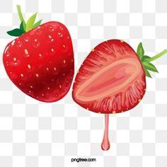 Strawberry Flower, Strawberry Juice, Kiwi Juice, Custard, Vector Design, Adobe Illustrator, Watermelon, Hello Kitty, Hand Painted