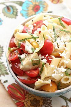 Italian Artichoke Tomato and Pasta Salad recipe by Barefeet In The Kitchen