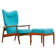 "Teak Lounge Chair and Ottoman by K. Rasmussen, Møbelfabrikken, Herlev, Model No. 3001 ""Clipperstol"" ca.1958"
