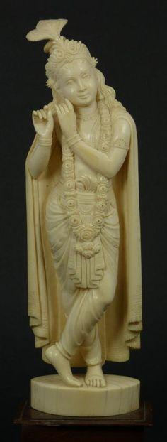 INDIAN HAND CARVED IVORY KRISHNA GOD FIGURE