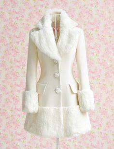 White Fur Collar Winter Coat 2017 Dabuwawa New Fashion Slim Women Wool Coat Rose Button Casaco Feminino High Quality S-xl White Faux Fur Coat, White Trench Coat, Trench Coats, Victorian Coat, Look Fashion, Fashion Outfits, Woman Fashion, Cheap Fashion, White Fashion