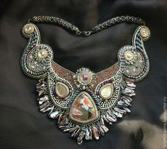 Bead embroidered collar