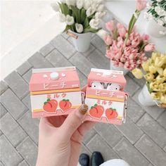 Peach Drinks, Kawaii Phone Case, Cute Strawberry, Earphone Case, Sweet Peach, Airpod Case, Design Case, 3d Design, Cute Pins