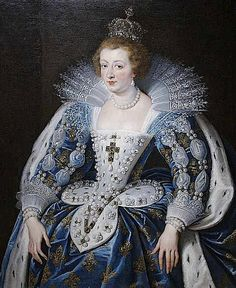 """""""Anne d'Autriche"""", 1622-25, by Peter Paul Rubens (Flemish, 1577-1640). Anne of Austria (1601–1666) was Queen consort of France & Navarre, regent for her son, Louis XIV of France, & a Spanish Infanta by birth. During her regency (1643–1651) Cardinal Mazarin served as France's chief minister and, perhaps, more. Her coronation gown, which appears to be the same gown worn by her mother-in-law, Marie de Medici, in a 1609-10 portrait by Frans Pourbus the Younger."""