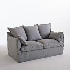 Canapé fixe en lin froissé, Odna