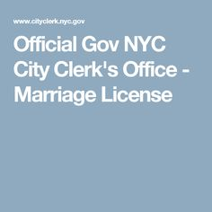 Official Gov NYC City Clerk's Office - Marriage License