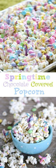 Springtime Chocolate Covered Popcorn is part of Popcorn snack mix recipes Sweet Treats - This Springtime Chocolate Covered Popcorn is sweet and delicious covered in pastel colored chocolates, sprinkles, and candies! Easter Snacks, Easter Treats, Easter Recipes, Easter Food, Popcorn Recipes, Dessert Recipes, Flavored Popcorn, Popcorn Snacks, Gourmet Popcorn
