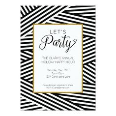 Ribbon Striped Party Invitation Cocktail Dinner Invitations Card