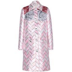 Miu Miu Jacquard Coat (32.650 ARS) ❤ liked on Polyvore featuring outerwear, coats, pink, metallic coat, miu miu, miu miu coat, jacquard coat and pink coat