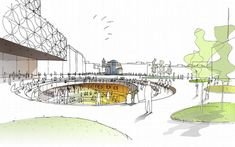 The Library of Birmingham Architecture Sketch Design Library Architecture, Cultural Architecture, Architecture Graphics, Architecture Drawings, Landscape Architecture, Landscape Design, Architecture Design, Birmingham Library, Landscape Drawings