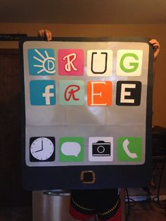 """Red Ribbon week iPhone poster """"iTune out drugs"""""""