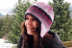 Crochet Pattern: Basic Ear Flap Hat Free Basic Ear Flap Hat Pattern by Craft ChicFree Basic Ear Flap Hat Pattern by Craft Chic Crochet Adult Hat, Crochet Winter Hats, Crochet Beanie, Free Crochet, Knitted Hats, Knit Crochet, Crochet Hats, Flap Hat, Crochet Basics
