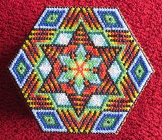 Mandala beaded box cover by Pachamama Native Art. SOLD