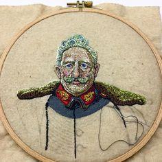 «Each time I look at this, I love it more! @benoithamet #embroidery #portrait #nakış #bordado #stitch #art #artist #handmade #handstitched #benoithamet…»