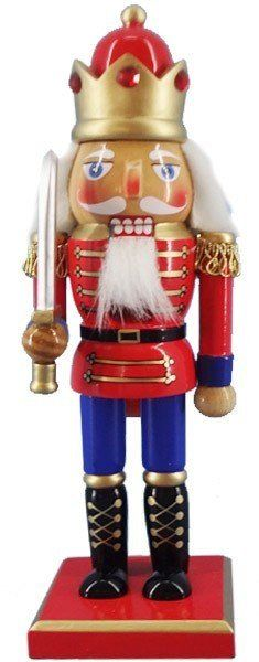 Why not combine the red, white and blue with traditional decorative nutcracker design? This king-style nutcracker may have German ancestors, but his style is all American.  This nutcracker is attired in a short, red jacket with gold epaulets, blue dress pants and a red, bejeweled crown. He's not only a great Christmas accent, but could work well as a July 4th decoration.