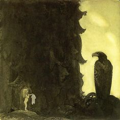 "She Gave the Eagle Her Petticoat, by John Bauer. ""The Princess gave the eagle her petticoat as thanks for bringing her home."""
