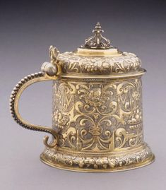 Fridrich Vicke (Breslau, Germany (Wroclaw, Poland), master 1615–died 1666)  Tankard, ca. 1620  Parcel-gilt silver  5 3/4 x 6 3/4 x 4 7/8 in. (14.61 x 17.15 x 12.38 cm)  Purchase, with funds from Kenneth Treis M2002.185   Photo credit John Nienhuis