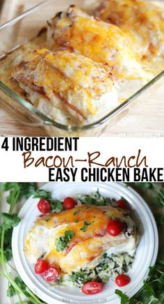 {Easy Dinner Recipe} 4 Ingredient Bacon Ranch Chicken Bake | The Pinning Mama