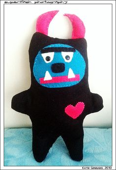 My felt monster.  His name is Jaju.  He was a gift for an ex-boyfriend.  I miss him (the monster, not the ex)