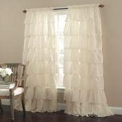 Gypsy Ruffled Curtain Panel - Cream